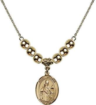 Walter Bonyak Jewelry Saint Necklace Collection 18-Inch Hamilton Gold Plated Necklace with 6mm Gold Filled Beads and Saint of Pontoise Charm