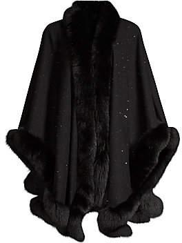 Sofia Cashmere Women's Fox Fur & Cashmere U-Cape