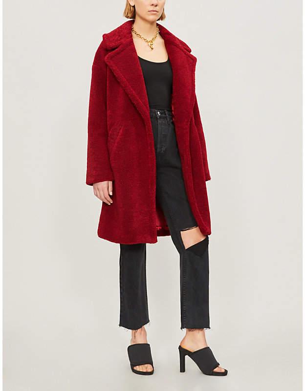 KENDALL & KYLIE Notch-lapel faux-fur teddy coat