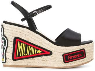 Miu Miu patch-work wedge sandals