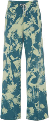 Off-White Printed Cotton Wide-Leg Sweatpants Size:
