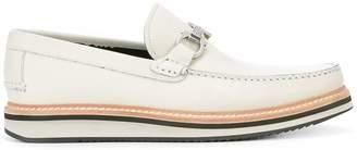 Salvatore Ferragamo contrast sole horsebit loafers