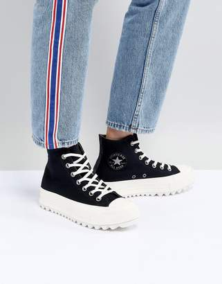 e85d3873aa1 ... Converse Chuck Taylor All Star hi lift ripple sneakers in black
