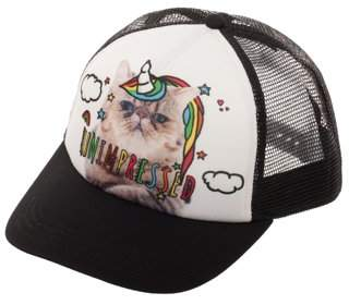 No Boundaries Women's Unimpressed Cat-Unicorn Snapback Hat with Print Foam Front Panel and Mesh Crown