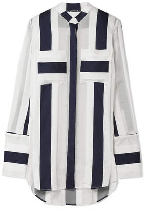 ADAM by Adam Lippes Striped Cotton And Silk-blend Jacquard Blouse - White