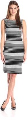 Tiana B Women's Varied Striped Knit Shirt Dress Sleeveless and Boat Neck, Black/White
