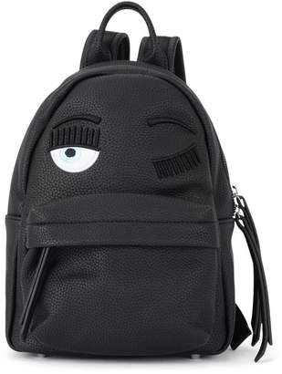 Chiara Ferragni Flirting Small Black Faux Leather Backpack