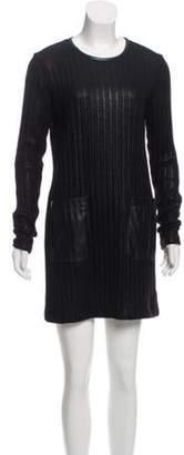 Derek Lam Long Sleeve Coated Dress Black Long Sleeve Coated Dress