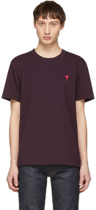 Ami Alexandre Mattiussi Burgundy Ami De Coeur T-Shirt