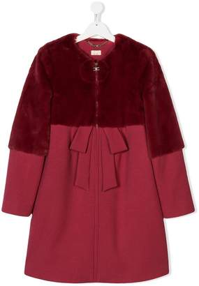 Elisabetta Franchi La Mia Bambina TEEN faux fur panel coat