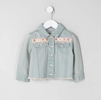 River Island Mini girls Blue embroidery denim jacket