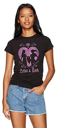 Nintendo Women's Link and Zelda Love Silhouette Crew Neck Graphic T-Shirt