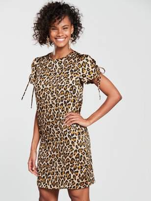Very Tie Sleeve Tunic Dress - Leopard Print