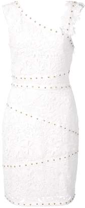Nicole Miller asymmetric studded lace dress
