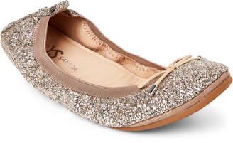 Yosi Samra Champagne Sandrine Glitter Ballet Flats