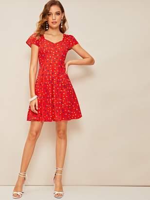 eac4e47a355 Shein Box Pleat Detail Polka Dot Fit   Flare Dress