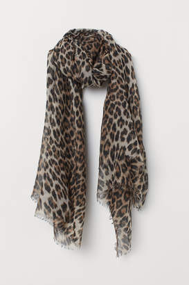 H&M Leopard-print Scarf - Beige