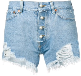 Couture Forte Dei Marmi pearl-embellished distressed shorts
