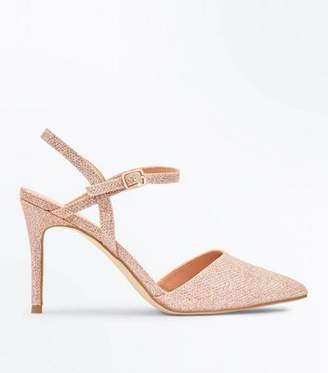 New Look Rose Gold Glitter Cross Strap Side Pointed Courts