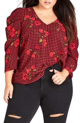 City Chic Chelsea Ruched Sleeve Top