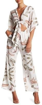 L'Atiste Front Tie Cutout Floral Print Jumpsuit