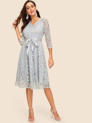 Shein 50s Ribbon Tie Waist Lace Overlay Dress