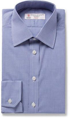 Turnbull & Asser Blue Slim-Fit Micro-Gingham Cotton-Poplin Shirt