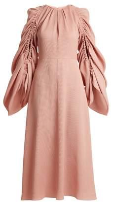 Roksanda - Aruna Ruched Sleeve Crepe Dress - Womens - Pink