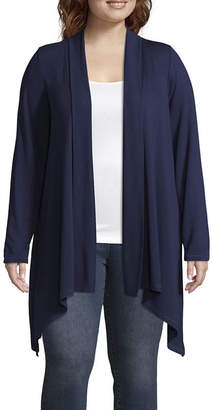 Liz Claiborne WEEKEND  Sharkbite Open Cardigan- Plus