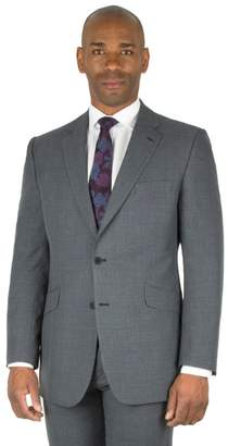 Centaur Big & Tall - Grey Check Big And Tall 2 Button Front Regular Fit Suit Jacket