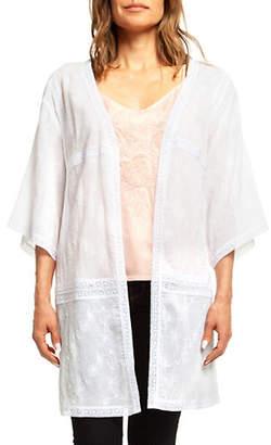 Dex Three-Quarter-Sleeve Embroidered Cardigan