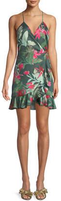 Lovers And Friends Gigi Halter Floral-Print Mini Wrap Dress