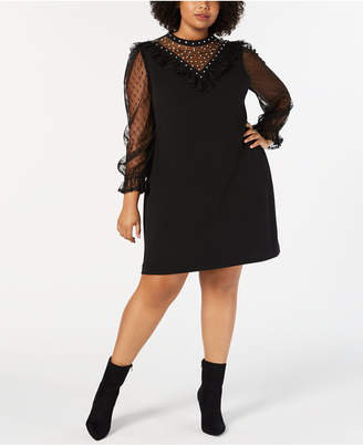 Betsey Johnson Trendy Plus Size Embellished Swiss Dot Dress