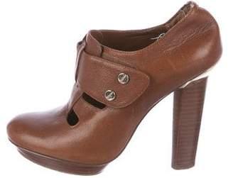 BCBGMAXAZRIA Leather Round-Toe Booties