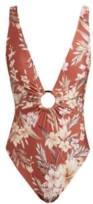 Zimmermann Wayfarer Plunge Front Floral Print Swimsuit - Womens - Red Print
