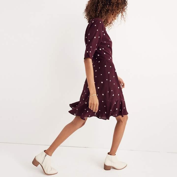 Silk Flutter-Hem Dress in Star Mix