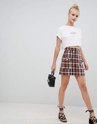 Asos Design DESIGN boucle check double breasted mini skirt with pearl buttons