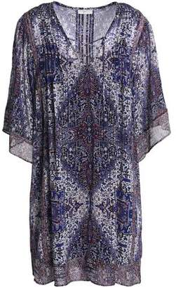 Joie Hadiya Lace-Up Printed Silk-Voile Mini Dress