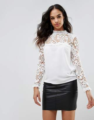 Lipsy Lace Sleeve Frill Detail Blouse