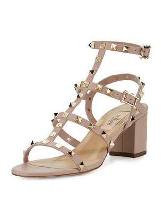 Valentino Rockstud Leather 60mm City Sandal, Poudre $1,045 thestylecure.com