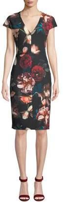 Black Halo Greyson Floral-Print Short-Sleeve Sheath Dress