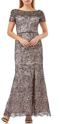 JS Collections Embroidered Trumpet Gown