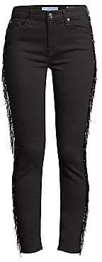 7 For All Mankind Women's Beaded Fringe Ankle Skinny Jeans