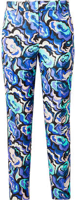 Emilio Pucci Velvet-trimmed Wool And Silk-blend Twill Slim-leg Pants - Purple