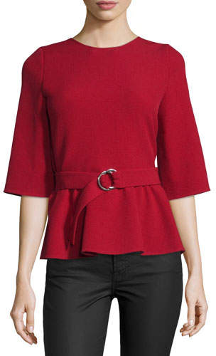 BA&SH ba&sh Triumph Wrap-Back Belted Top, Rouge