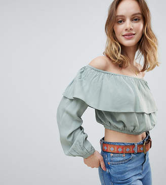 Glamorous Petite Off Shoulder Crop Top With Ruffle Layer