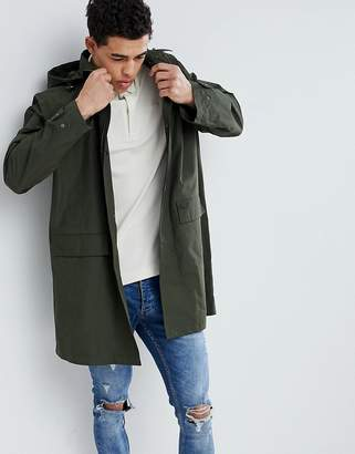 Lacoste Light Weight Hooded Trench In Khaki