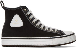 R 13 Black Canvas High-Top Sneakers
