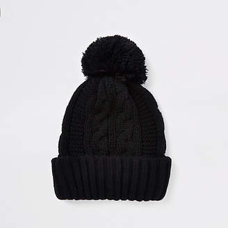 River Island Black cable knit bobble beanie hat
