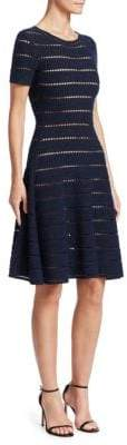 Oscar de la Renta Short-Sleeve Eyelet Knit A-Line Dress